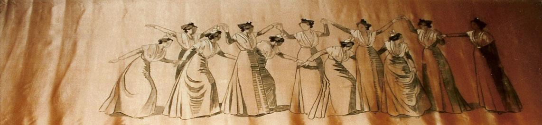 Farandole Arlésiennes Peinture sur soie offerte par LEO LELEE