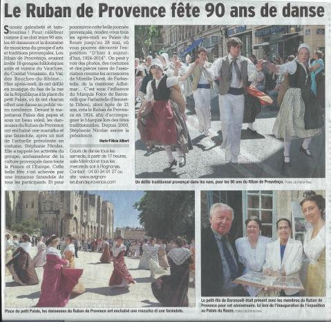 Vaucluse matin du 18 mai 2014 les 90 ans du Ruban